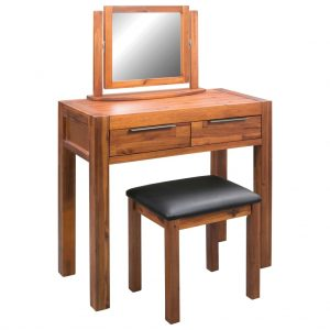 vidaXL Dressing Table with Stool and Mirror Solid Acacia Wood