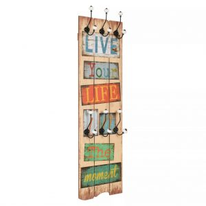 vidaXL Wall-mounted Coat Rack with 6 Hooks 120×40 cm LIVE LIFE