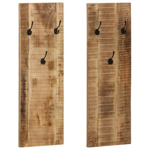 vidaXL Wall-mounted Coat Racks 2 pcs Solid Mango Wood 36x110x3 cm