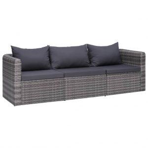 vidaXL 3 Piece Garden Sofa Set with Cushions Grey Poly Rattan