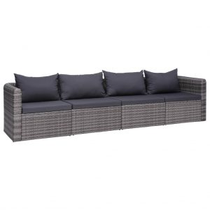 vidaXL 4 Piece Garden Sofa Set with Cushions Grey Poly Rattan