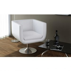 vidaXL Bar Stool White Faux Leather