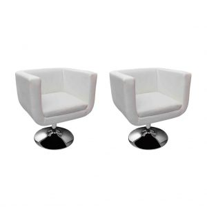 vidaXL Bar Chairs 2 pcs White Faux Leather