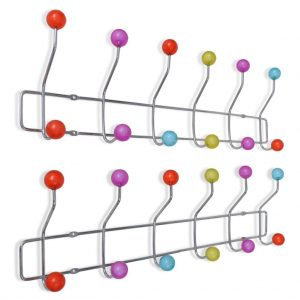 vidaXL Colourful Wall Peg Board with 12 Hooks 2 pcs