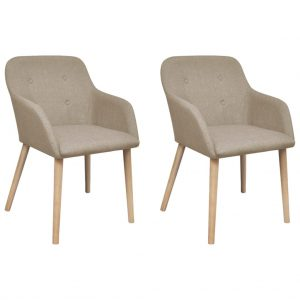 vidaXL Dining Chairs 2 pcs Beige Fabric and Solid Oak Wood