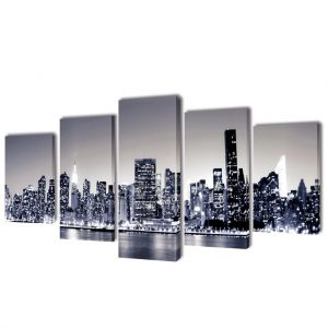 Canvas Wall Print Set Monochrome New York Skyline 100 x 50 cm