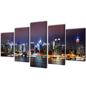 Canvas Wall Print Set Colourful New York Skyline 100 x 50 cm