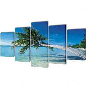 Canvas Wall Print Set Sand Beach with Palm Tree 200 x 100 cm