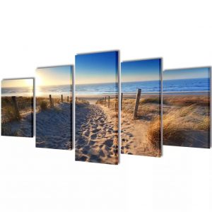 vidaXL Canvas Wall Print Set Sand Beach 200 x 100 cm