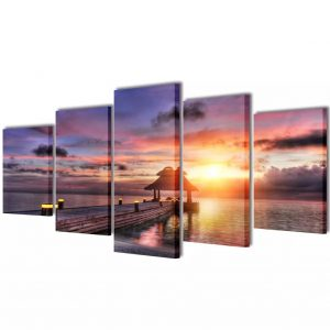 vidaXL Canvas Wall Print Set Beach with Pavilion 100 x 50 cm