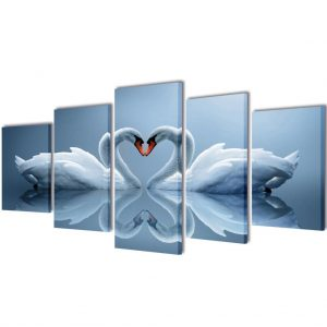 vidaXL Canvas Wall Print Set Swan 100 x 50 cm