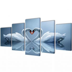Canvas Wall Print Set Swan 200 x 100 cm