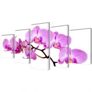 Canvas Wall Print Set Orchid 100 x 50 cm