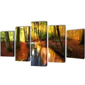Canvas Wall Print Set Forest 100 x 50 cm