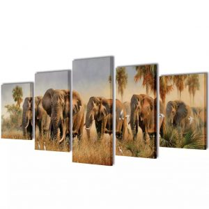 Canvas Wall Print Set Elephants 100 x 50 cm