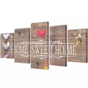 Canvas Wall Print Set Home Sweet Home Design 100 x 50 cm