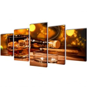 Canvas Wall Print Set Whiskey and Cigar 100 x 50 cm