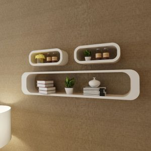 3 White MDF Floating Wall Display Shelf Cubes Book/DVD Storage