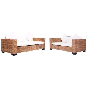 vidaXL 2 Piece Garden Sofa Set with Cushions Natural Rattan