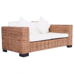vidaXL 2-Seater Garden Sofa Natural Rattan