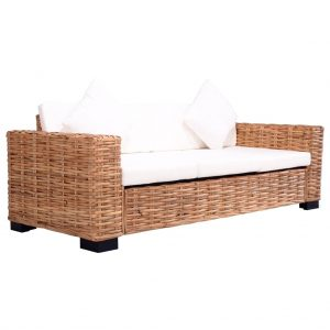 vidaXL 3-Seater Garden Sofa Natural Rattan