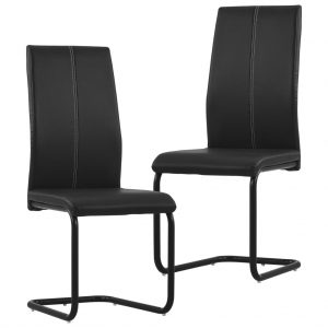 vidaXL Cantilever Dining Chairs 2 pcs Black Faux Leather