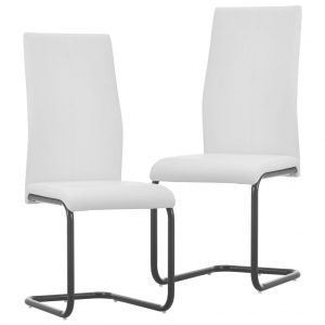 vidaXL Cantilever Dining Chairs 2 pcs White Faux Leather
