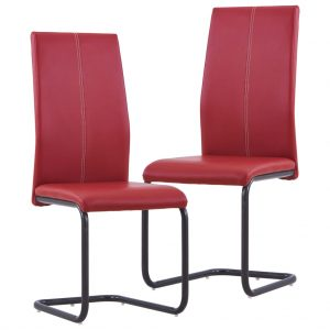 vidaXL Cantilever Dining Chairs 2 pcs Red Faux Leather