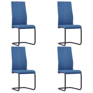 vidaXL Cantilever Dining Chairs 4 pcs Blue Faux Leather