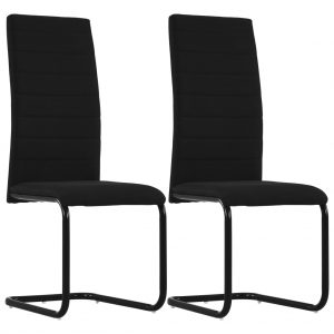 vidaXL Cantilever Dining Chairs 2 pcs Black Fabric