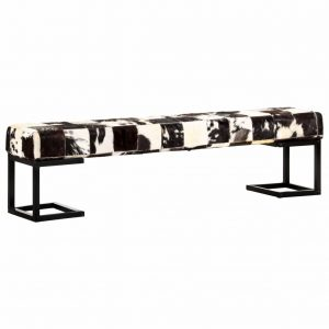 vidaXL Bench 160 cm Black Patchwork Genuine Goat Leather