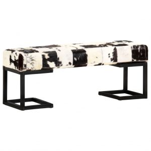 vidaXL Bench 110 cm Black Patchwork Genuine Goat Leather