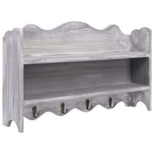 vidaXL Wall Mounted Coat Rack Grey 50x10x30 cm Wood