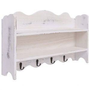 vidaXL Wall Mounted Coat Rack White 50x10x30 cm Wood