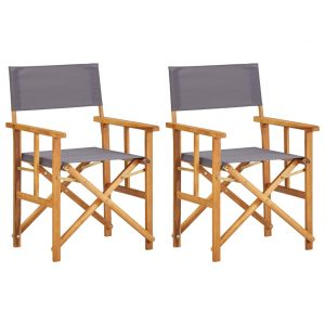 vidaXL Director's Chairs 2 pcs Solid Acacia Wood