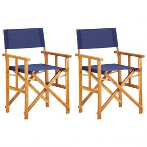 vidaXL Director's Chairs 2 pcs Solid Acacia Wood Blue
