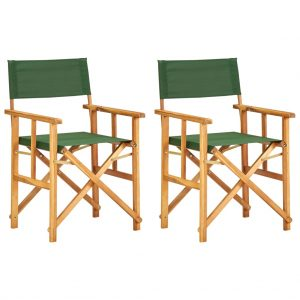 vidaXL Director's Chairs 2 pcs Solid Acacia Wood Green