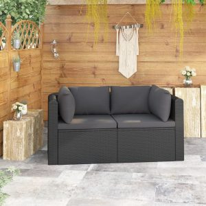 vidaXL 2 Piece Garden Sofa Set with Cushions Poly Rattan Black