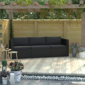 vidaXL 3 Piece Garden Sofa Set with Cushions Poly Rattan Black