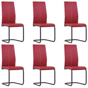 vidaXL Cantilever Dining Chairs 6 pcs Red Faux Leather