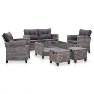 vidaXL 6 Piece Garden Sofa Set with Cushions Poly Rattan Dark Grey