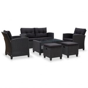 vidaXL 6 Piece Garden Sofa Set with Cushions Poly Rattan Black