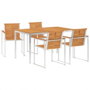 vidaXL 5 Piece Dining Set Solid Acacia Wood and Stainless Steel