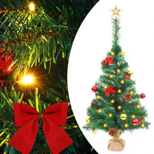 vidaXL Artificial Christmas Tree with Baubles and LEDs Green 64 cm