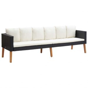 vidaXL 3-Seater Garden Sofa with Cushions Poly Rattan Black