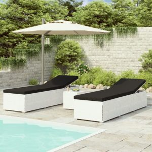 vidaXL 3 Piece Garden Sun Loungers with Tea Table Poly Rattan White