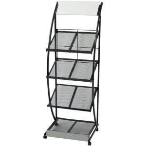 vidaXL Magazine Rack 47x40x134 cm Black and White A4