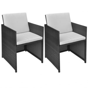 vidaXL Garden Chairs 2 pcs with Cushions and Pillows Poly Rattan Black