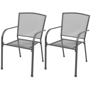 vidaXL Stackable Garden Chairs 2 pcs Steel Grey