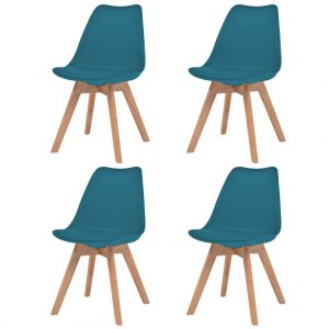 vidaXL Dining Chairs 4 pcs Turquoise Faux Leather